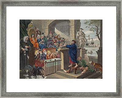 Paul Before Felix, Illustration Framed Print by William Hogarth
