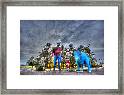 Framed Print featuring the photograph Paul Bunyan And Babe The Blue Ox In Bemidji by Shawn Everhart