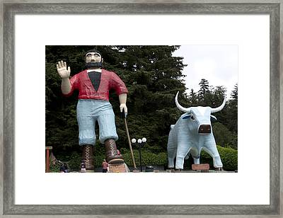 Paul Bunyan And His Blue Ox In Klamath Framed Print