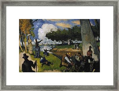 Paul Cezanne 1839-1906. The Fishermen Fantastic Scene. Ca. 1875 Framed Print by Bridgeman Images