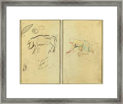 Paul Gauguin, French 1848-1903, A Pig Breton Peasant Framed Print by Litz Collection