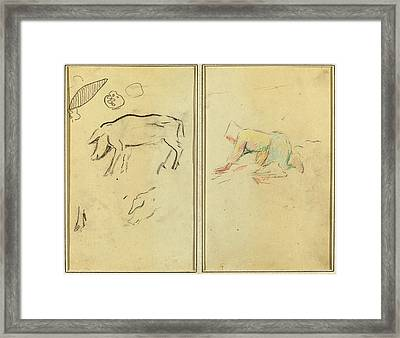 Paul Gauguin French, 1848 - 1903, A Pig Breton Peasant Framed Print by Quint Lox