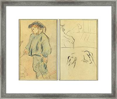 Paul Gauguin, French 1848-1903, Breton Boy Tending Geese Framed Print by Litz Collection