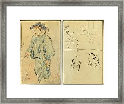 Paul Gauguin French, 1848 - 1903, Breton Boy Tending Geese Framed Print by Quint Lox