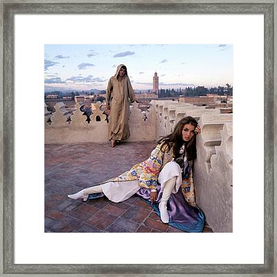 Paul Getty Jr And Talitha Getty On A Terrace Framed Print by Patrick Lichfield