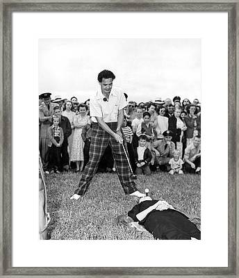 Paul Hahn Golf Stunt Shot Framed Print by Underwood Archives