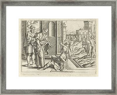 Paul Healed A Lame, Cornelis Bos Framed Print by Artokoloro