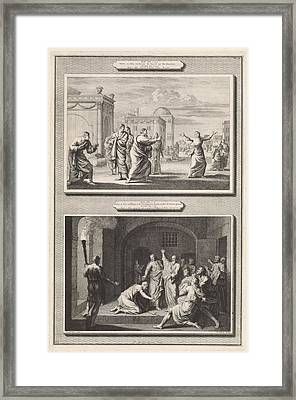Paul Healed A Possessed Woman And The Conversion Framed Print by Jan Luyken And Hendrik Elandt And Bernard Picart