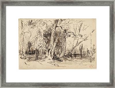 Paul Huet, Flooding In The Forest Of The Ile Séguin Framed Print