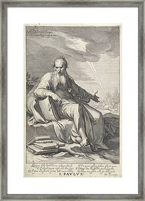 Paul In A Landscape, He Leans On A Book And Holding A Pen Framed Print