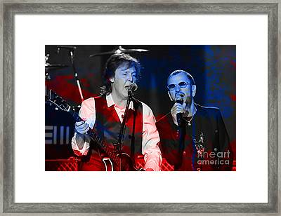 Paul Mccartney And Ringo Star Painting Framed Print