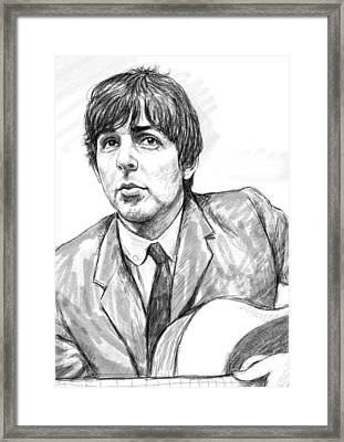 Paul Mccartney Art Drawing Sketch Portrait Framed Print