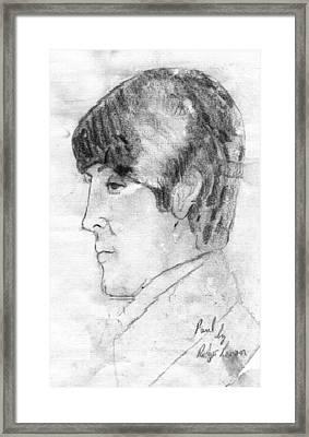 Paul Mccartney Profile Framed Print by Rodger Larson