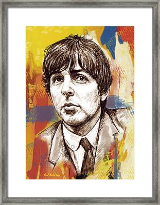Paul Mccartny Stylised Pop Art Drawing Potrait Poser Framed Print by Kim Wang