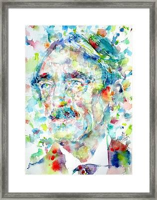 Paul Valery - Watercolor Portrait Framed Print by Fabrizio Cassetta