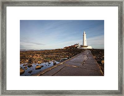 Paved Path To The Lighthouse On St Framed Print