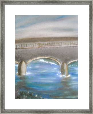 Pavia Covered Bridge - En Plein Air Painting Framed Print by Nicla Rossini