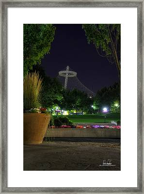 Pavillion At Night Framed Print by Dan Quam