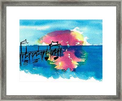 Framed Print featuring the painting Pawleys Island Sunrise Watercolor by Frank Bright