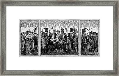 Paying Homage To Mary And The Infant Jesus Christ Woodblock Imag Framed Print