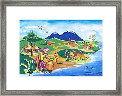 Framed Print featuring the painting Paysage Du Nord Du Rwanda by Emmanuel Baliyanga