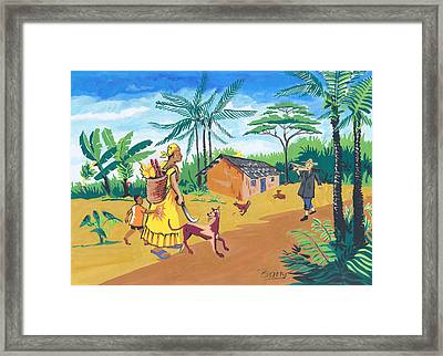 Framed Print featuring the painting Paysage Du Sud Du Cameroon by Emmanuel Baliyanga