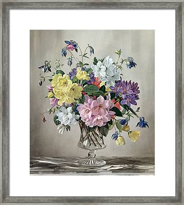Rhododendrons, Azaleas And Columbine In A Glass Vase Framed Print by Albert Williams