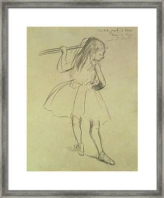 Girl Dancer At The Barre Framed Print by Edgar Degas