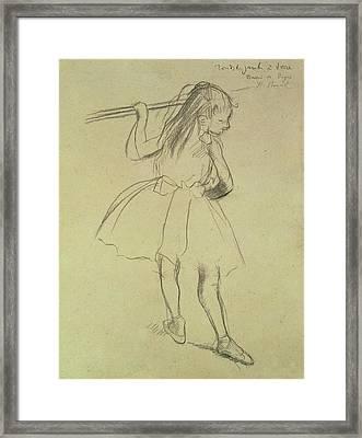 Girl Dancer At The Barre Framed Print