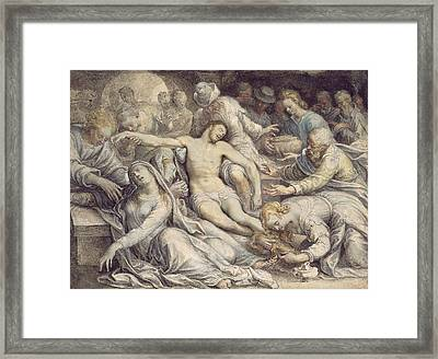 The Lamentation Over The Dead Framed Print by Isaac Oliver