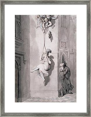 Pd.52-1958 An Old Varsity Trick Framed Print by Thomas Rowlandson