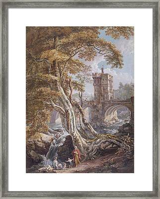 View Of The Old Welsh Bridge Framed Print by Paul Sandby