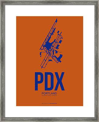 Pdx Portland Airport Poster 1 Framed Print by Naxart Studio
