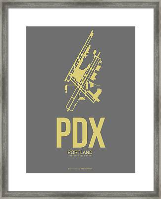 Pdx Portland Airport Poster 2 Framed Print by Naxart Studio