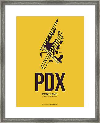 Pdx Portland Airport Poster 3 Framed Print by Naxart Studio