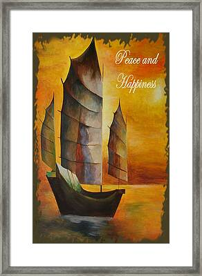 Peace And Happiness Christmas Greetings Framed Print by Tracey Harrington-Simpson