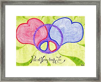 Peace And Harmony Through Love Framed Print by Steve Sommers
