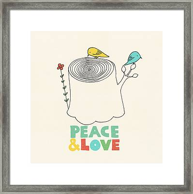 Peace And Love Framed Print