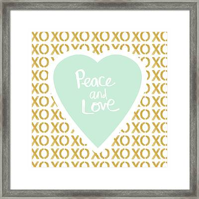 Peace And Love In Aqua And Gold Framed Print by Linda Woods