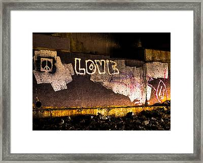 Peace And Love Under The Bridge Framed Print by Bob Orsillo