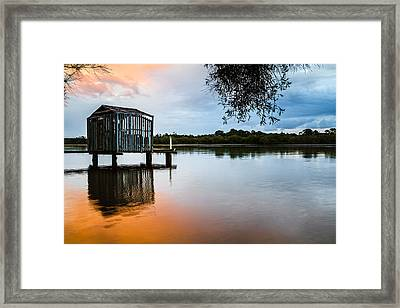 Peace At Pete's Jetty Framed Print by Peta Thames