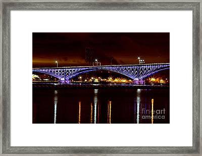 Peace Bridge At Night Framed Print by Daniel J Ruggiero
