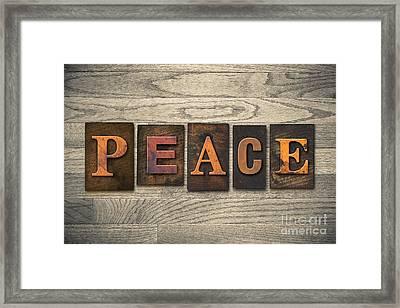 Peace Concept Wooden Letterpress Type Framed Print by Jason Enterline
