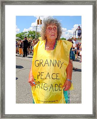 Framed Print featuring the photograph Peace Granny by Ed Weidman