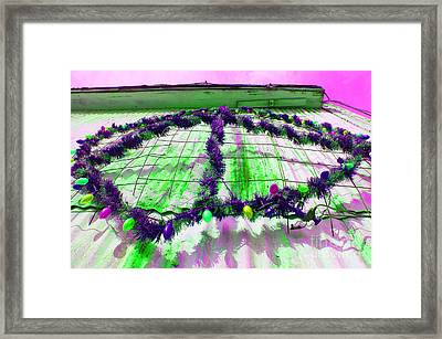 Framed Print featuring the photograph Peace Lights 1 by Minnie Lippiatt