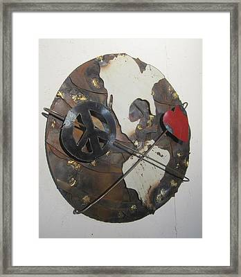 Peace Love And Earth Recycled Sculpture Framed Print by Robert Blackwell