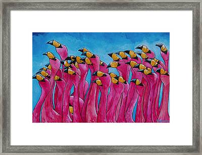 Peace Love And Flamingos Framed Print