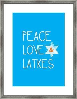 Peace Love And Latkes Framed Print by Linda Woods