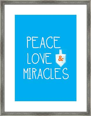 Peace Love And Miracles With Dreidel  Framed Print by Linda Woods
