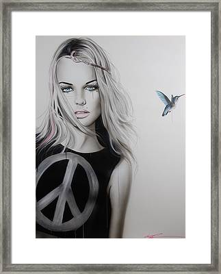 Portrait - ' Peace Love And Psychadelia ' Framed Print